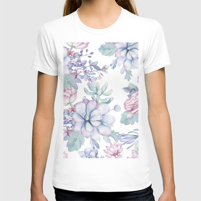 Pretty Blue Pink Succulents Garden T-shirt