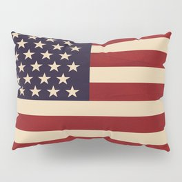 American Flag Vintage Americana Red Navy Blue Beige Pillow Sham