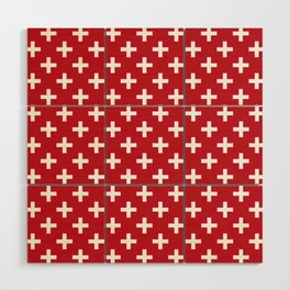 Criss Cross | Plus Sign | Red and White Wood Wall Art