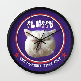 Fluffy, the squishy face cat Wall Clock