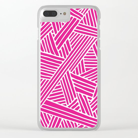 Abstract pink & white Lines and Triangles Pattern-Mix and Match with Simplicity of Life Clear iPhone Case
