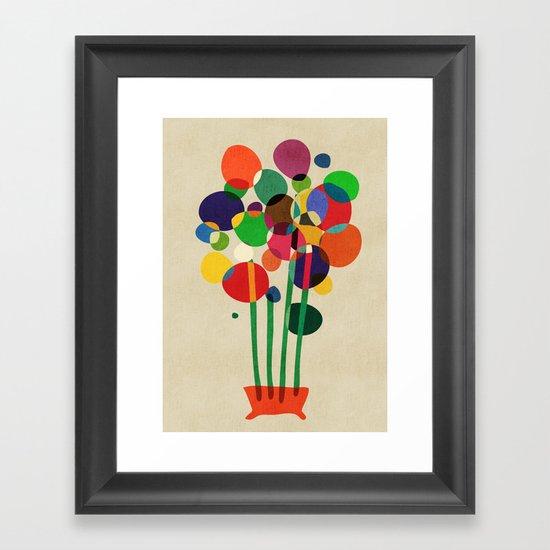 Happy flowers in the vase Framed Art Print