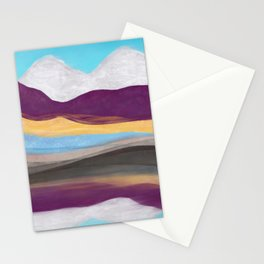 Dream Mountain / colorful mountains/ abstract layers/ purple  Stationery Cards