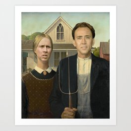 American Gothic Nicholas Cage Face Swap Art Print