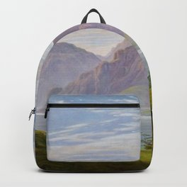 Landscape with Mountain Lake, Morning by Caspar David Friedrich Backpack
