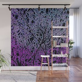 Tangled Tree Branches in Purple and Pink Wall Mural