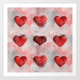 Heart Love Red Mixed Media Pattern Gift Art Print