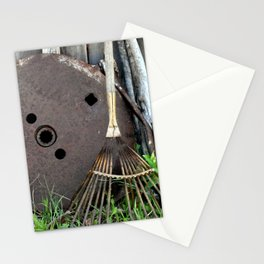 """Rust and Rake   Found Objects Still Life   """"Rusty Gold"""" Stationery Cards"""