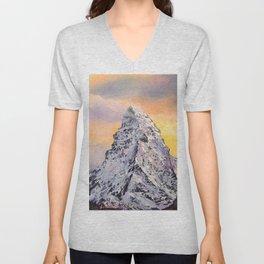 Matterhorn. Sunset. Swiss Alps Unisex V-Neck