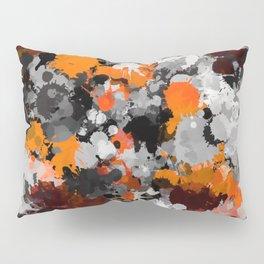 Orange and Grey Paint Splatter Pillow Sham