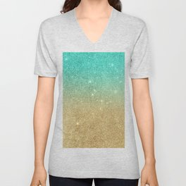 Aqua teal abstract gold ombre glitter Unisex V-Neck