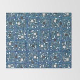 Blue tech Throw Blanket