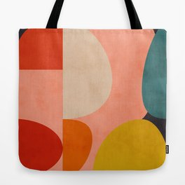 geometry shape mid century organic blush curry teal Tote Bag