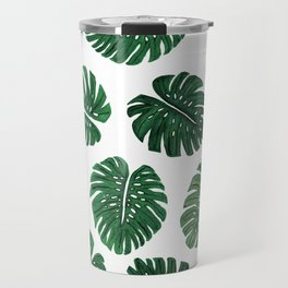 Tropical Hand Painted Swiss Cheese Plant Leaves Travel Mug