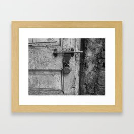 Old and rusty door latch Framed Art Print