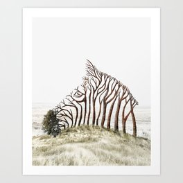 Zebra Tree Illusion Art Print