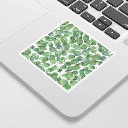 Watercolor green white foliage greenery leaf pattern Sticker