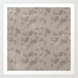 Abstract vintage chic brown cream floral illustration Art Print