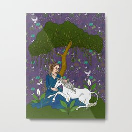 Unicorn Tapestry: the Unicorn and the Maiden Metal Print