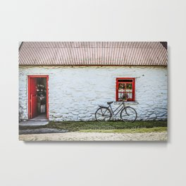 White Farmhouse with Bicycle Metal Print