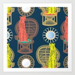 Rattan Cheetah Chairs + Mirrors Art Print
