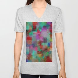 geometric square pixel pattern abstract in green blue red pink purple Unisex V-Neck