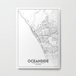Minimal City Maps - Map Of Oceanside, California, United States Metal Print