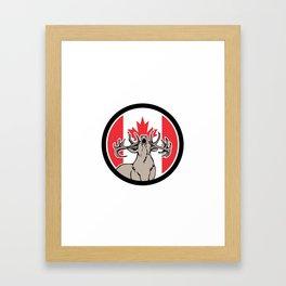 Canadian Stag Deer Canada Flag Icon Framed Art Print