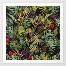 Tropical pattern on black Art Print