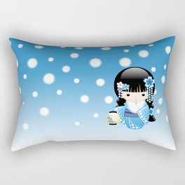 Japanese Winter Kokeshi Doll Rectangular Pillow