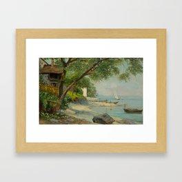 BOCION, FRANCOIS (1828 Lausanne 1890) Maisons de pêcheurs sur la côte française.. Framed Art Print