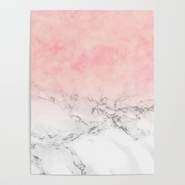 Modern blush pink watercolor ombre white marble Poster