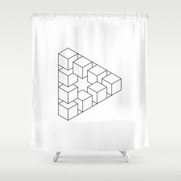 #01 Impossible geometry  - triangle made by cubes Shower Curtain