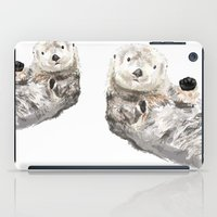 otters iPad Cases featuring Sea Otters Watercolor Painting by Triple Studio