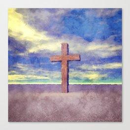 Christian Cross Landscape Canvas Print