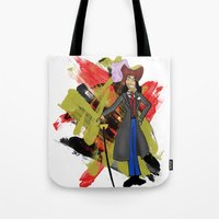 captain hook Tote Bags featuring Disneyland Captain Hook - Evil Relations by Joey Noble