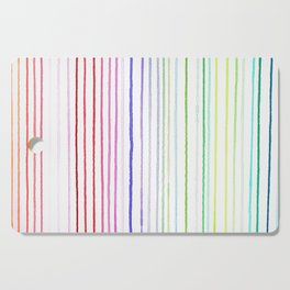 RAINBOW WATERCOLOR LINES Cutting Board
