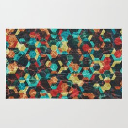 Colorful Half Hexagons Pattern #07 Rug