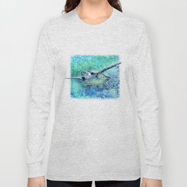 Swimming Turtle In Watercolor Long Sleeve T-shirt