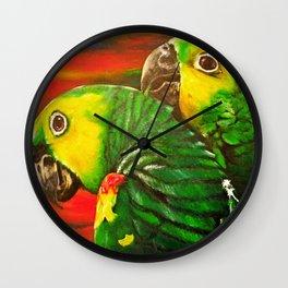 Green Yellow Macaw Wall Clock