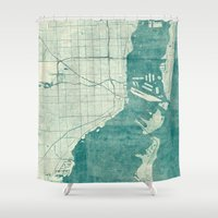 miami Shower Curtains featuring Miami Map Blue Vintage by City Art Posters