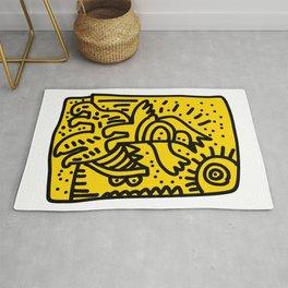 Yellow Graffiti Art Looking for the Sun Rug