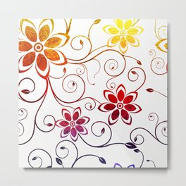 Bright Floral Design Metal Print
