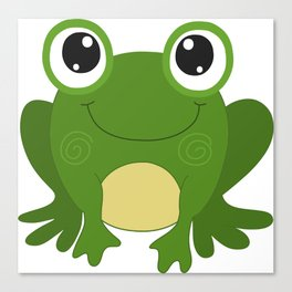 Smiling Green Frog Canvas Print