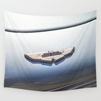 bond Wall Tapestries featuring Vintage car sign Aston Martin DB6 David Brown James Bond by Premium
