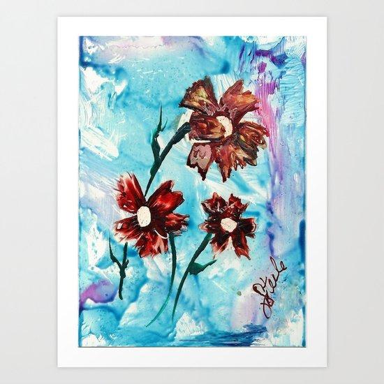 Brown flowers Art Print