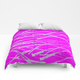 Neon Magenta background with Rough Blue Grey Paint Strokes, Teenage Girl Bedding Comforters