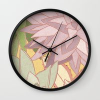 succulents Wall Clocks featuring Succulents by Julia Walters Illustration