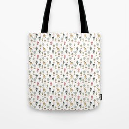 Mini Vintage Ornamental Winged Hot Air Helium Balloons on White Tote Bag