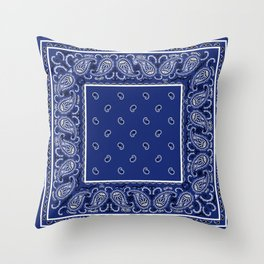 Classic Royal Blue Bandana Throw Pillow